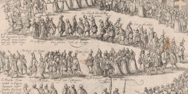Etsning föreställande bröllopet mellan Fredrik V och Elisabet