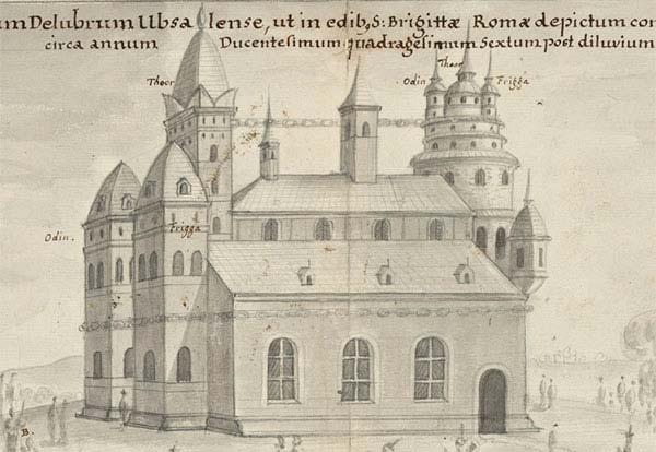 Blyertsteckning föreställande Uppsala tempel