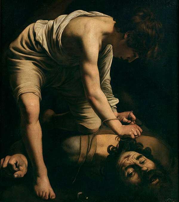 Oljemålning föreställande David och Goljat