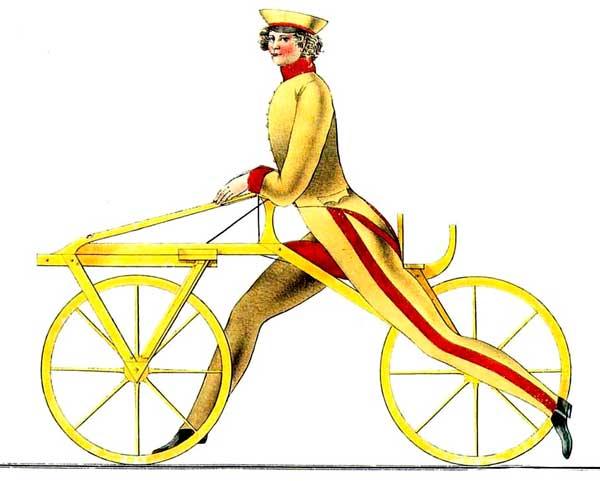 Ritning av en föregångare till cykeln, en velociped, som uppfanns 1816