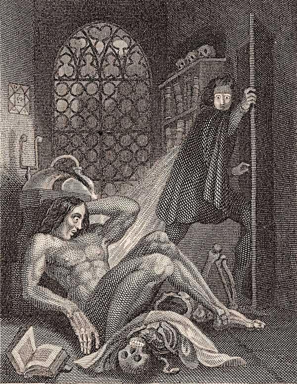 Stålstick föreställande Frankenstein, som får avsmak för sin skapta varelse
