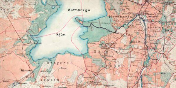 Karta över Hornborgasjön