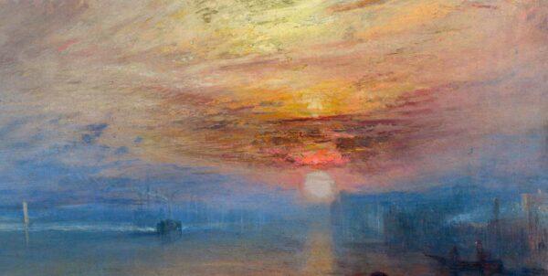 Ursnitt ur en oljemålning föreställande en färggrann solnedgång