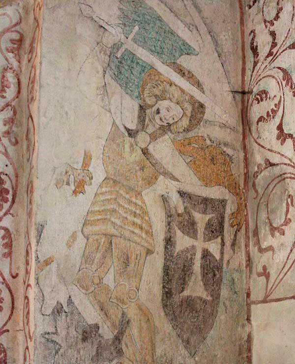Kalkmålning föreställande Sankt Mikael