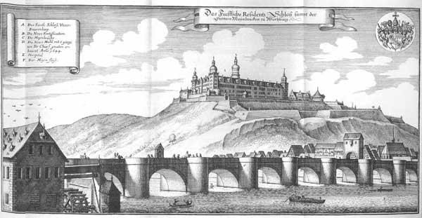 Illustration över bron över floden Main och borgen Marienberg