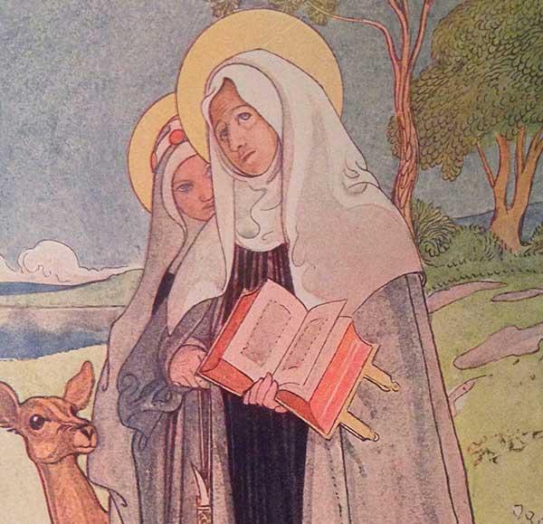 Målning föreställande Heliga Birgitta och Katarina