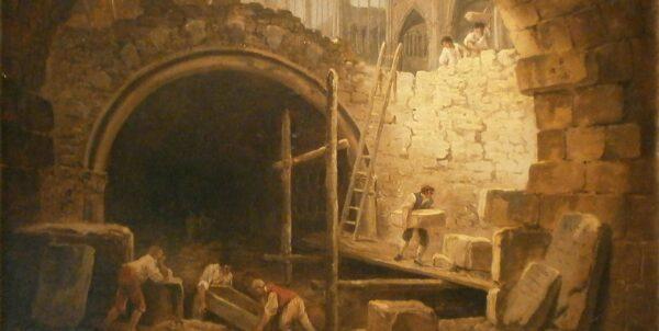 Målning föreställande plundringen av gravarna i Saint-Denis