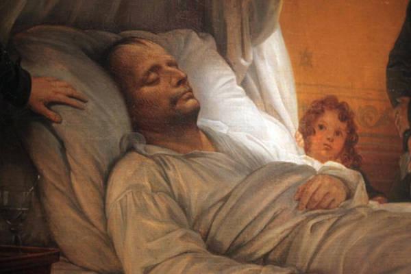 Målning föreställande Napoleons dödsbädd