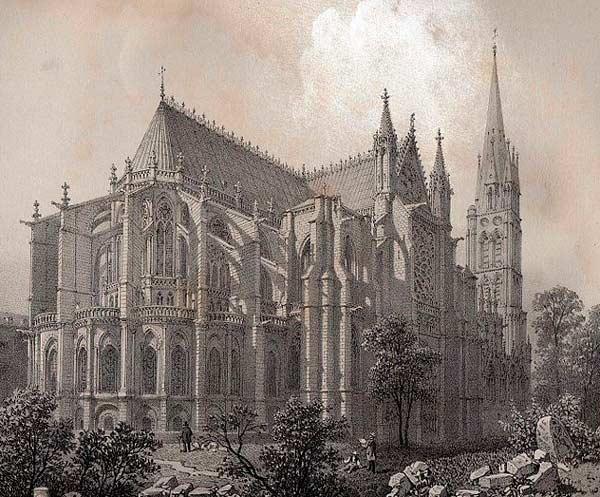 Litografi föreställande klosterkyrkan Saint-Denis