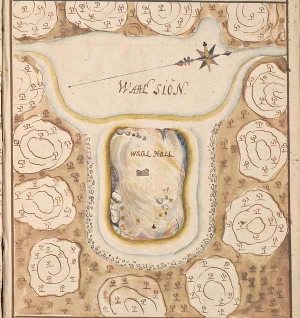 """Karta som visar en ö i sjön """"Waal siön"""" som är markerad som """"Waalhall"""""""