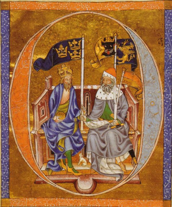 Bild på de två sittande Albrekt av Mecklenburg