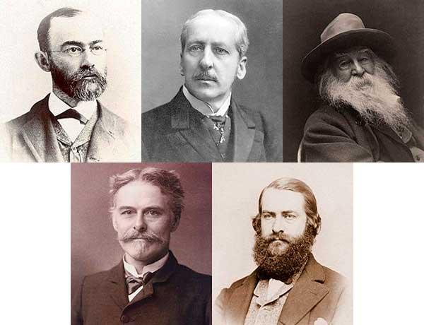 Fem porträttbilder av amerikanska forskare och författare, vars hjärnor hamnade på American Anthropometric Society