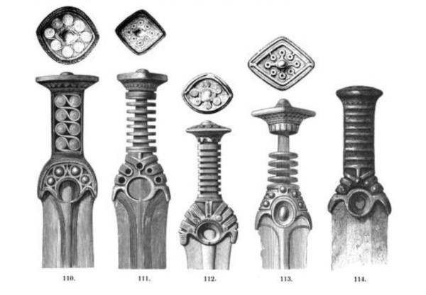 Teckning föreställande olika typer av bronssvärd.