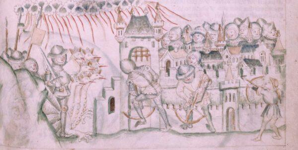 Teckning föreställande krigare och en sjuhövdad drake som försöker inta en stad