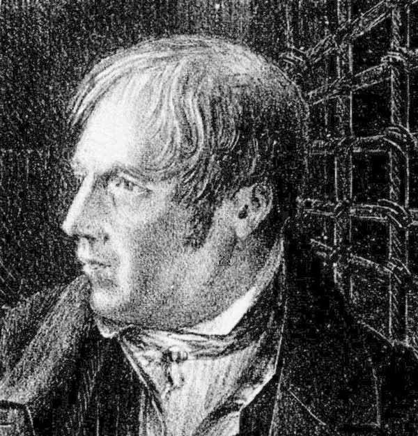 Litografi föreställande Lasse-Maja i sin cell