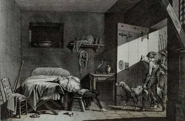 Kopparstick som visar hur Nicolas de Condorcet hittas död