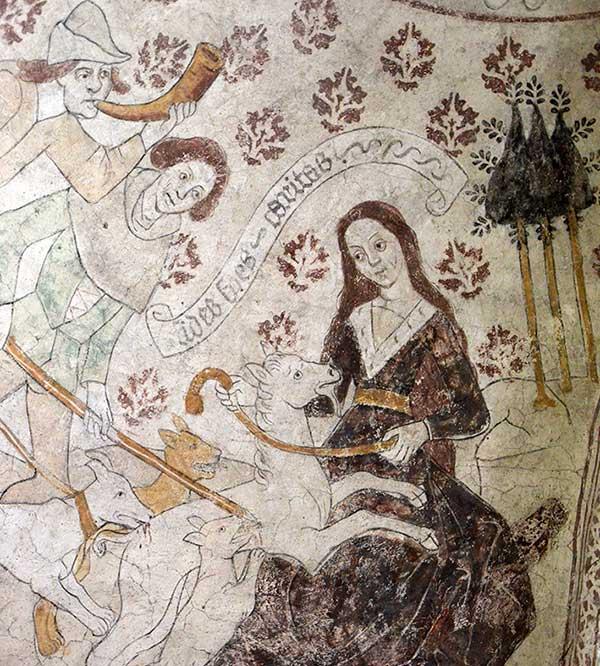 Kalkmålning förseställande Maria med en enhörning i knät och jägare som attackerar enhörningen