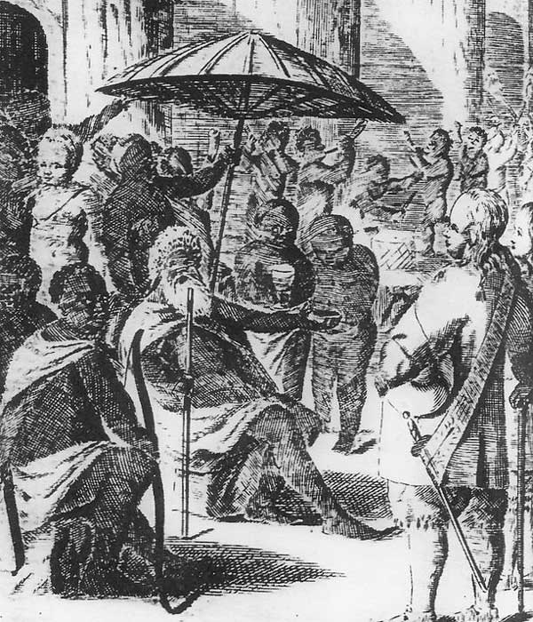 Illustration som visar förhandlingar mellan kung Bredewa och sändebudet Neumann