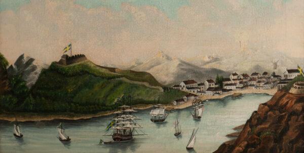 Oljemålning föreställande hamnen i Gustavia