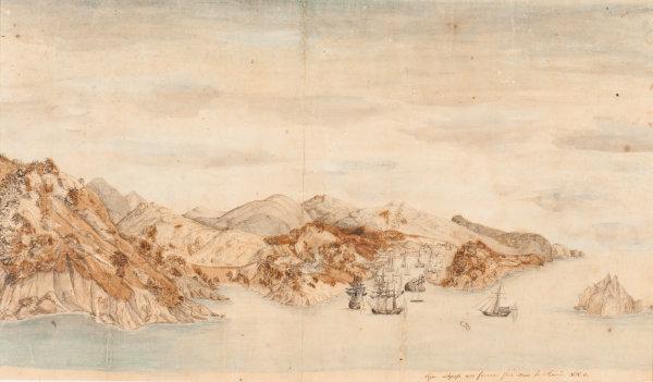 Målning föreställande staden Gustavia