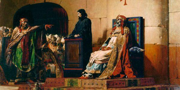 Målning föreställande kadaversynoden, där Formosus lik sitter på en tron iförd påvekläder och Stefan VI anklagar honom.