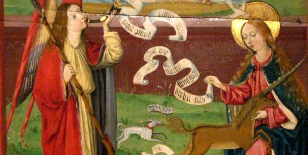 Målning föreställande Maria, enhörningen och ärkeängel Gabriel