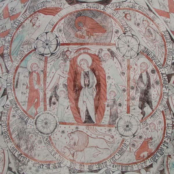 Kalkmålning föreställande Jungfru Maria och flera jungfrulighetssymboler