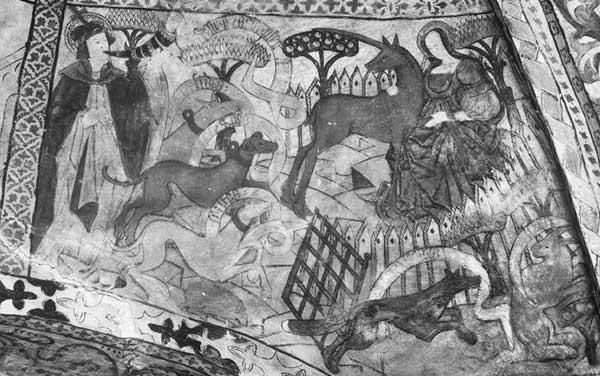 Kalkmålning föreställande Maria och enhörningen i en stängd trädgård med tre hundar som kommer in genom en öppen grind