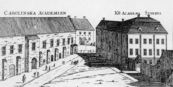 Kopparstick föreställande Academia Carolina och mittemot Kungliga akademisjukhuset