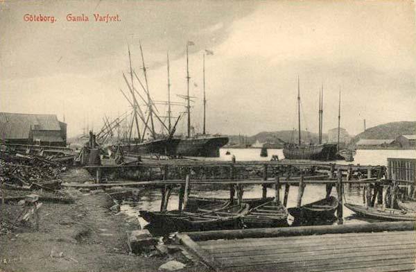 Äldre fotografi som visar Gamla varvet i Göteborg