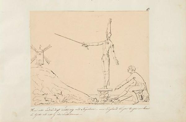 Teckning föreställande Gustav IV Adolf med riktat svärd mot en väderkvarn