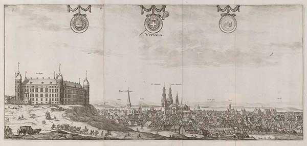 Kopparstick som föreställer Uppsala omkring år 1700