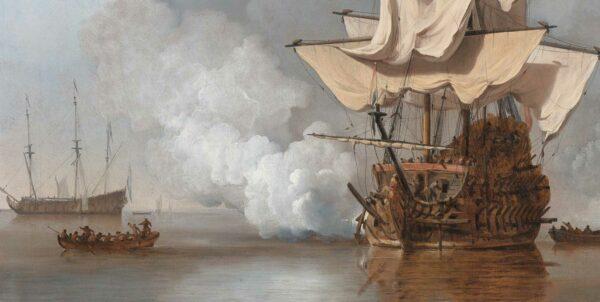 Målning föreställande ett skepp som avfyrar kanonerna