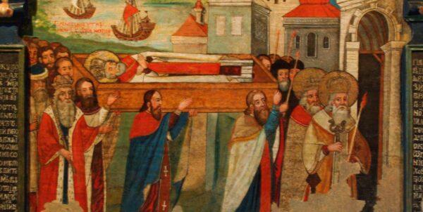 Målning om visar hur flera män bär en kista där Sankt Nikolaus ligger