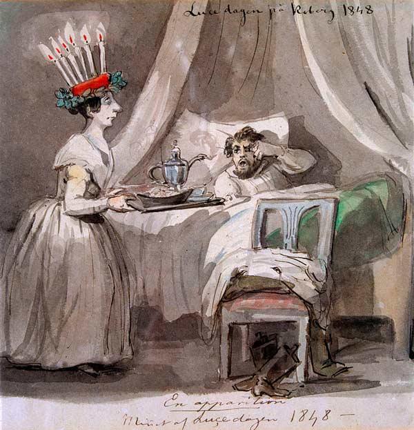 Akvarell föreställande en kvinna som är iförd luciakläder och uppvaktar en man i en säng