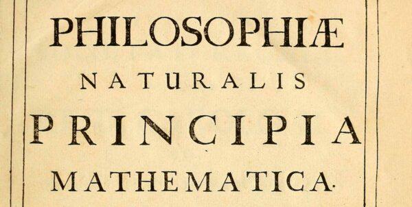 Titelsida av bok med texten Philosophiæ Naturalis Principia Mathematica
