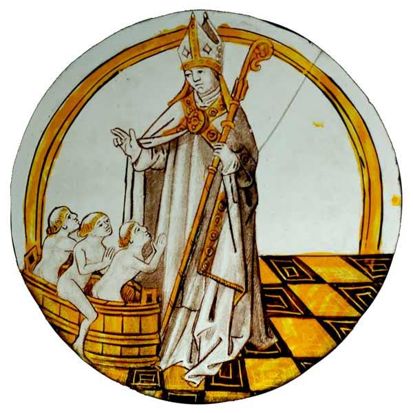 Glasmålning som visar Sankt Nikolaus där han gör korstecknet över tre barn i en tunna