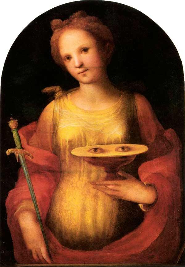 Oljemålning förställande en ung Lucia med ett svärd och ett fat med två ögon framför sig