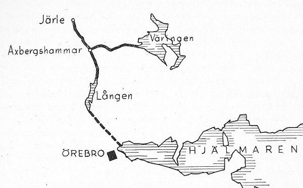 Karta som visar sträckningen av Järle kanal