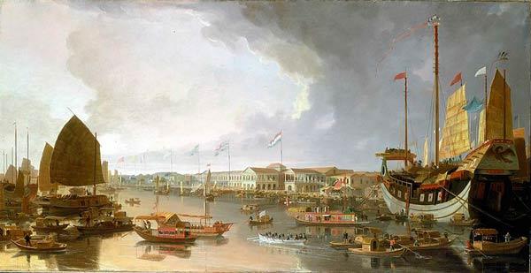 Målning som visar hamn med flera skepp och byggnader med olika nationers flaggor