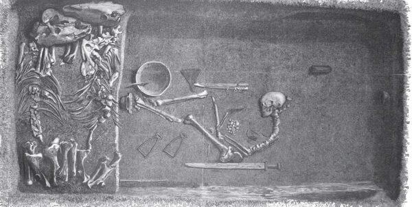 Ritning föreställande en kvinnlig krigargrav på Birka, med ett skelett med bland annat vapen i mitten och två hästskelett till höger