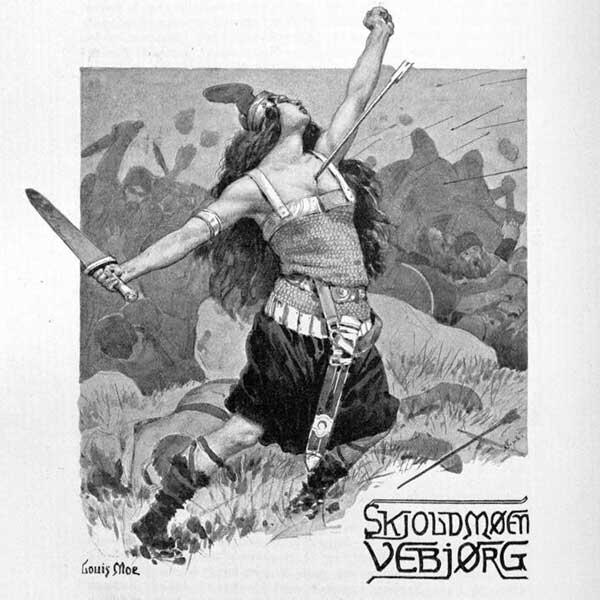 Illustration som föreställer en kvinnlig vikingakrigare som blir träffad av en pil i bröstet