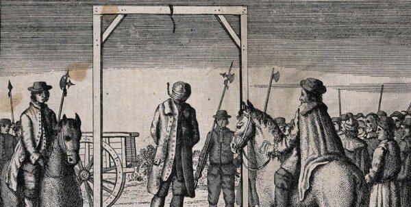 Etsning som visar en avrättning genom hängning då repet brister