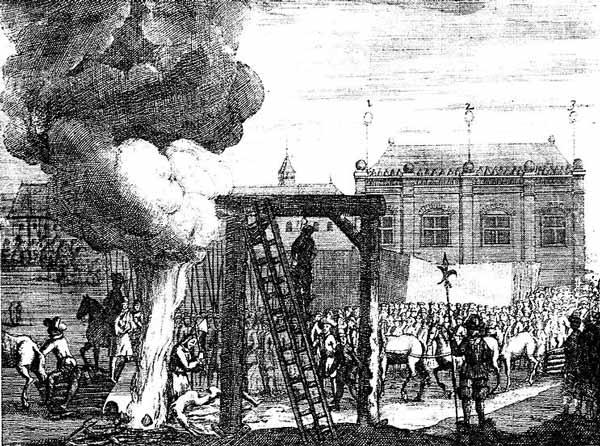 Kopparstick som visar hur en man utsätts för postum avrättning genom hängning