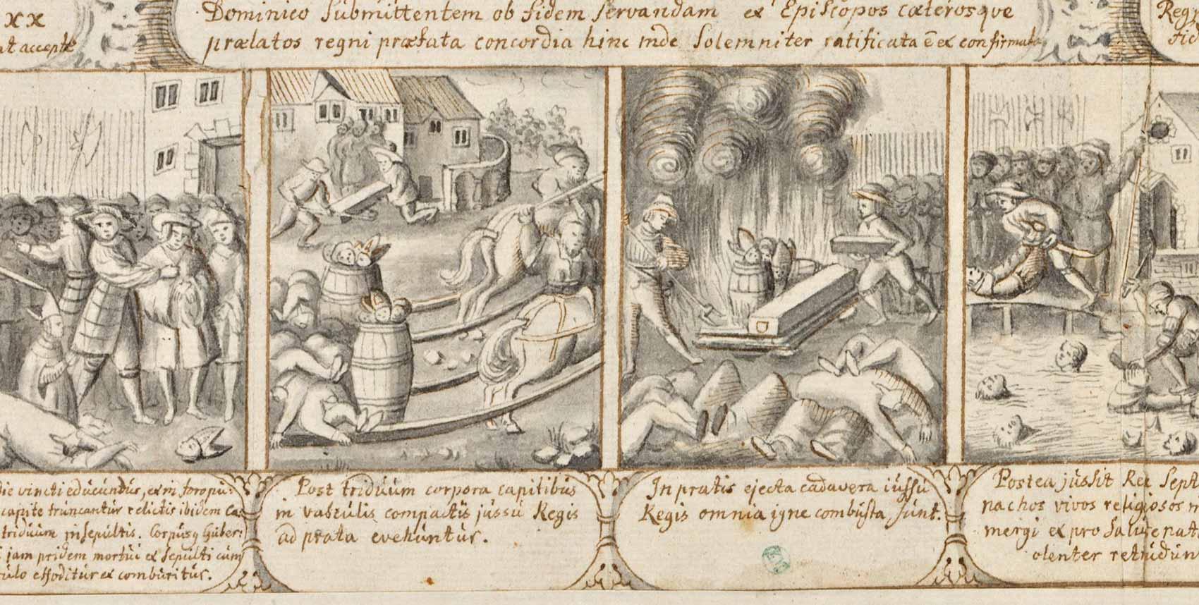 Sten Stures kista grävs upp och bränns sedan tillsammans med huvud i tunnor.