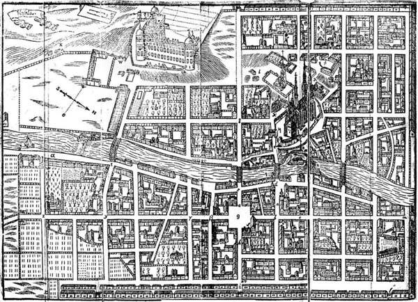 Karta över Uppsala stad.