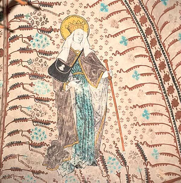 Kalkmålning föreställande krönt helgon med stav i handen