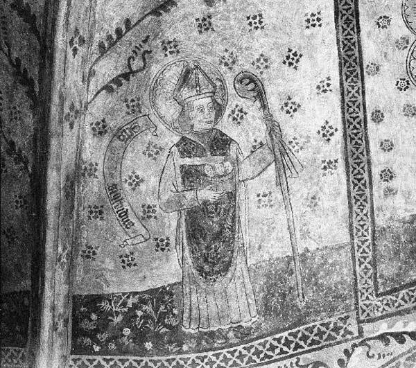 Kalkmålning föreställande helgonet Sigfrid med biskopsstav och tre huvuden i ett kar