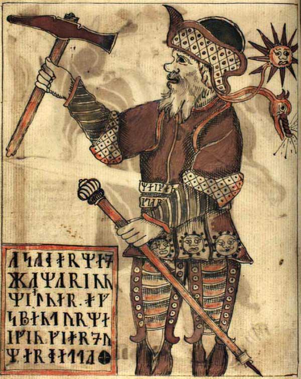 Illustration som visar tor, hållandes i en hammar och en käpp