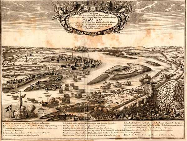 Kopparstick föreställande slaget vid Düna